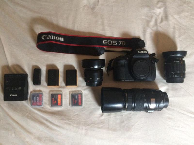 Canon 7D DSLR Camera - Body, Lenses, Batteries, Memory Cards