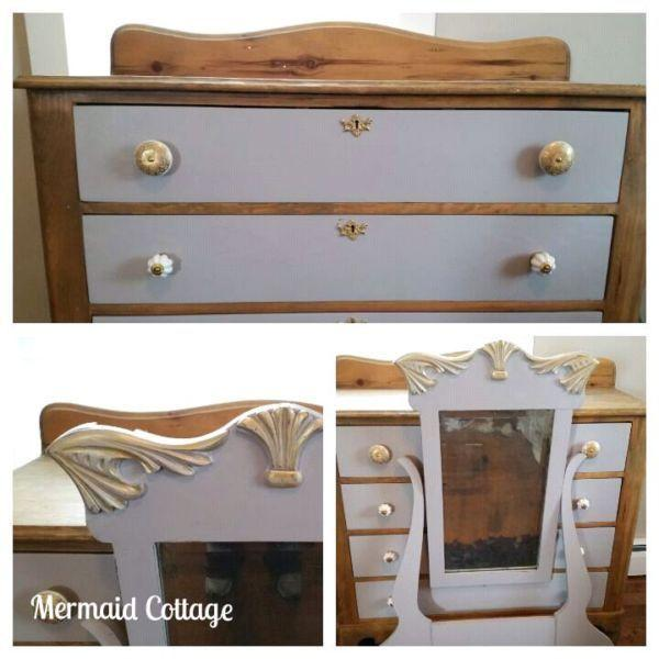 Refinished Antique Dresser with Mirror