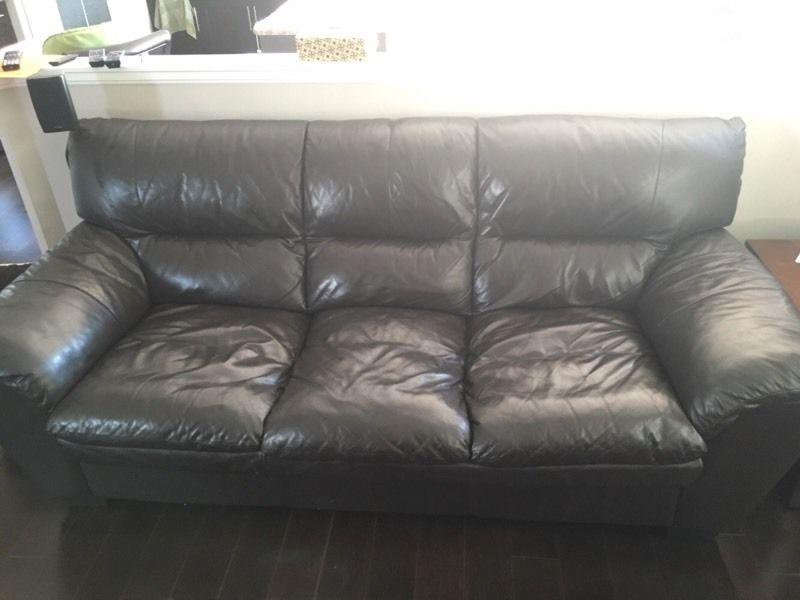Leather couch and loveseat