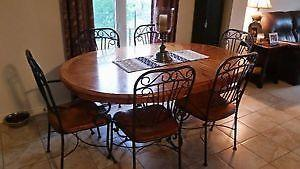 MUST SELL- Wood dining table,with 6 chairs,2 matching bar stools