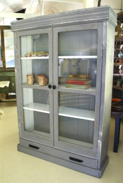 DISPLAY CABINET, BOOKCASE, COUNTRY FARMHOUSE STYLE, HANDCRAFTED