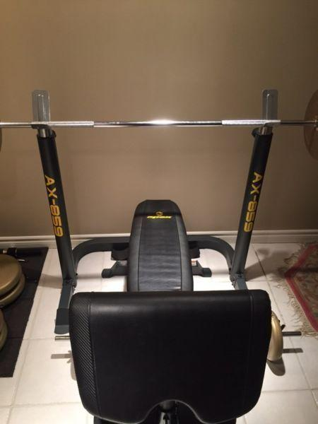 Workout Bench, Weights, Barbells