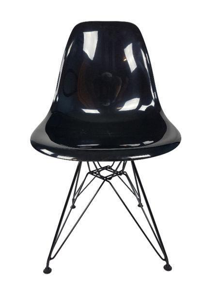 Eames Style Eiffel Black Clear Dining Chair Mid-Century Modern