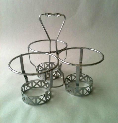 1970s Glass Greek Key Condiment Server