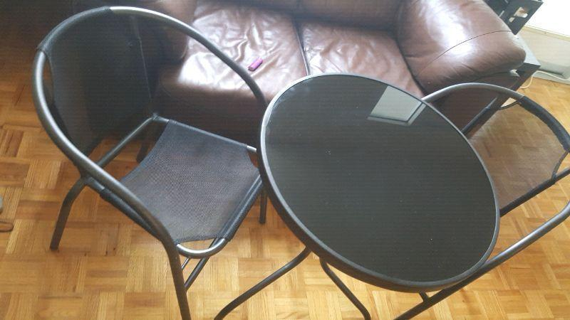 Elegant and moder black Glass table set