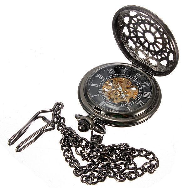 Gunmetal Black Mechanical Hand-winding Pocket Watch BRAND NEW