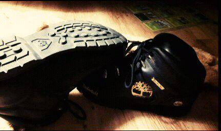 Brand new black Timberland boots with gold detail