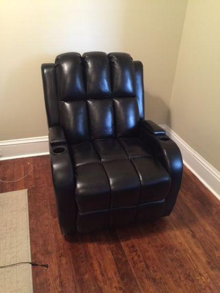 Black leather recliner almost brand new