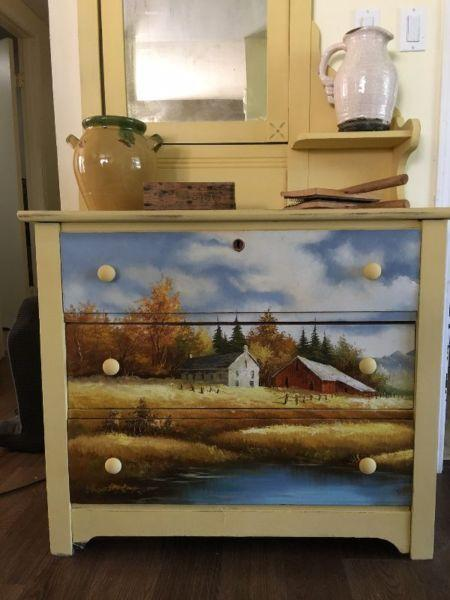 Antique Dresser With Oil Painting Front And Sides