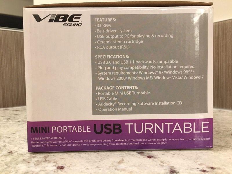 Vibe Mini Portable USB Turntable (Record Player)