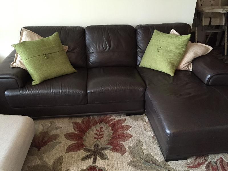 Brown Leather Couch w/ chaise
