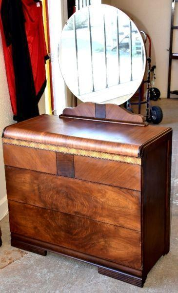 1940's Waterfall 3 Drawer Dresser with Mirror