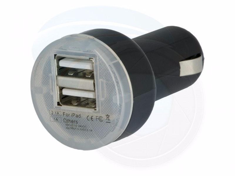 Portable Mini Dual USB Car Charger for iPhone iPad 5V 1A 2.1A