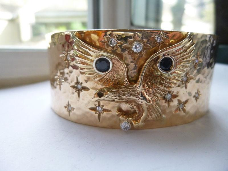 Solid 10K Gold Eagle Cuff Bracelet with Diamonds 105g