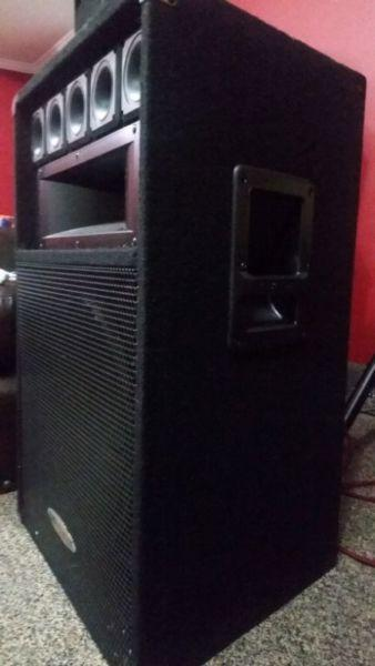 A PAIR OF GEM SOUND PA SPEAKERS 600W