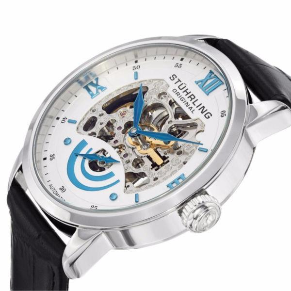 Stuhrling 574 01 Executive II Automatic Skeleton Dial Leather St
