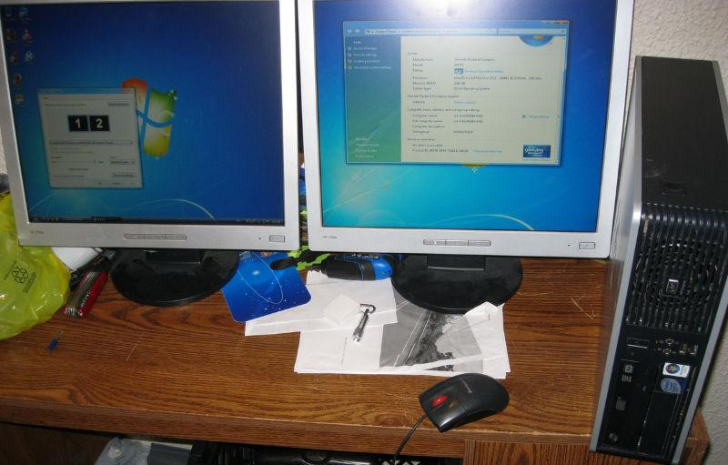 3Ghz E8400 Core 2 Duo 2GB RAM dual LCD monitor display computer