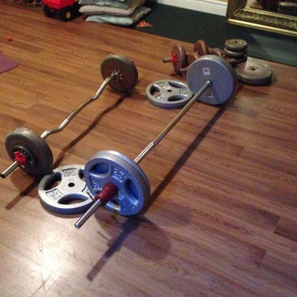 Steel weights 5' Bar curl bar and 2 dumbbell bars