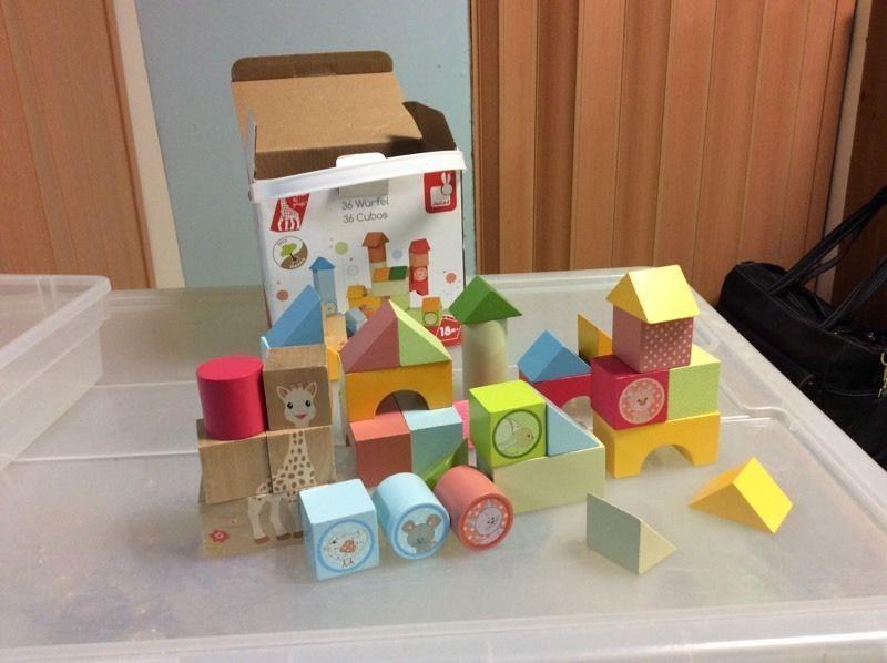 Set of wooden building blocks