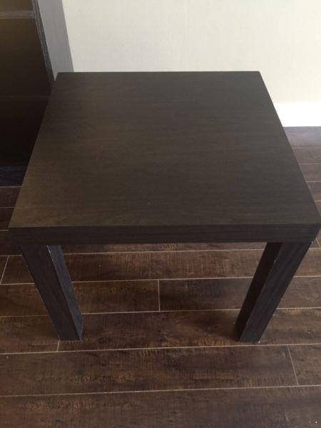 3 piece black bookshelf and side tables