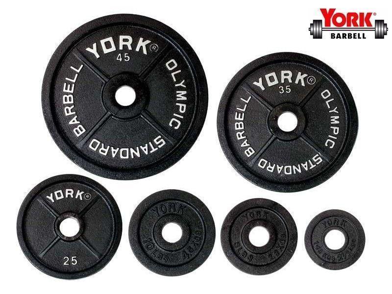 York 255lb Cast Iron Olympic Weight Set