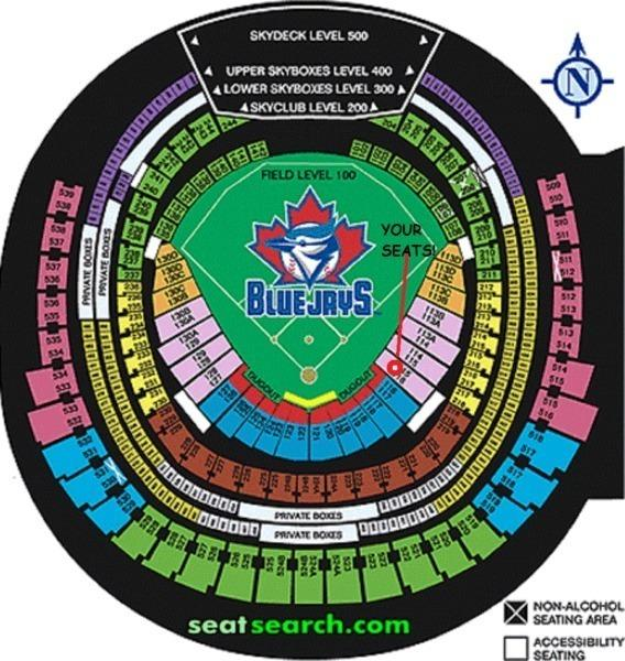 BLUE JAYS TICKETS - SEC 115L ROW 10! - GAMES ALL SEASON