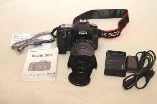 Canon SDLR 50D camera with 17-85mm and 70-300mm IS UL lens