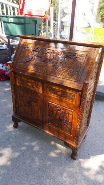 Hand carved wooden hutch desk