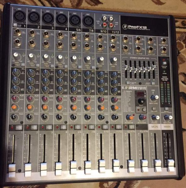 A Pair of Mackie Powered Speakers and ProFX 12 Mixer