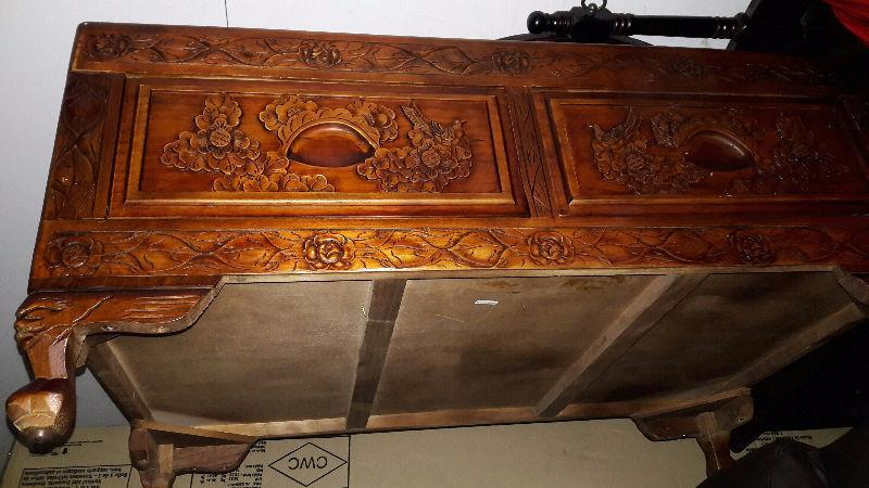 Carved pine coffee table new condition
