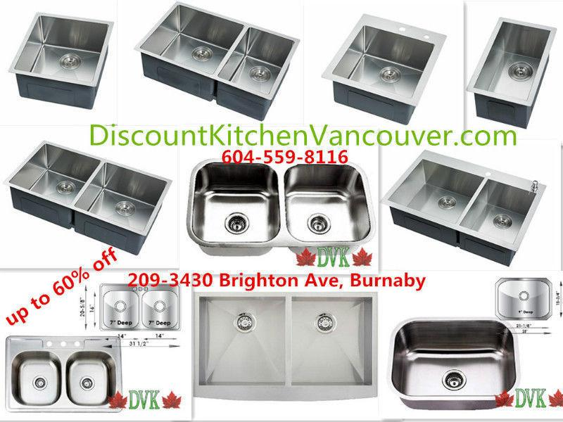 Kitchen sinks 16-18 Guage up to 60% off start from $69