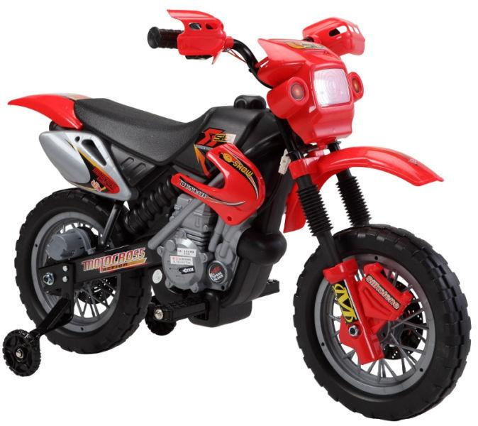 Electric Child Ride On Dirt Bike with Training Wheels Music more