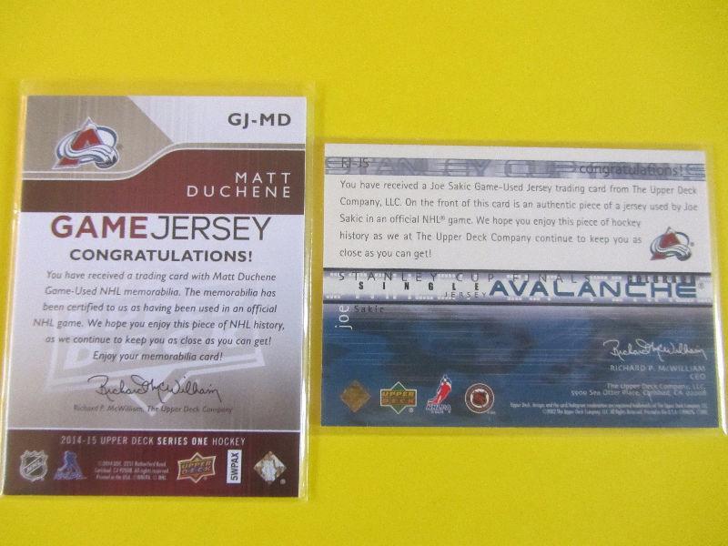 2 Colorado Avalanche game-used jersey cards: Joe Sakic, Duchene