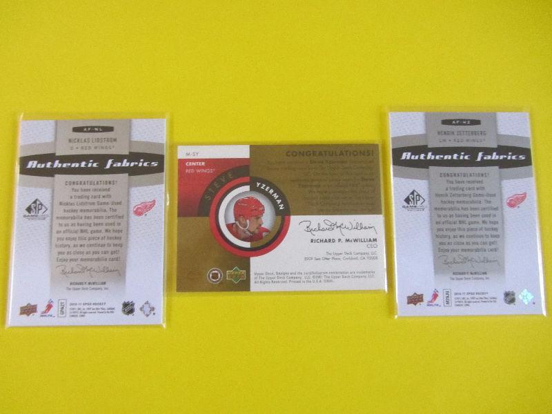3 Detroit Red Wings jersey cards: Yzerman Lidstrom Zetterberg