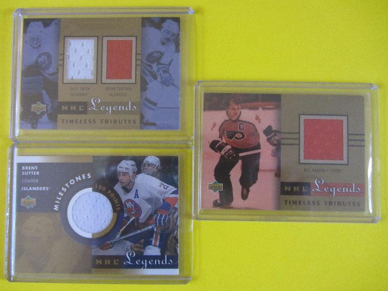 3 Legends game-used hockey cards: Trottier/Smith, Barber, Sutter