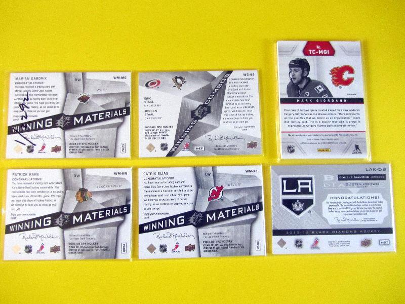 6 game-used jersey hockey cards: Patrick Kane, Stall brothers