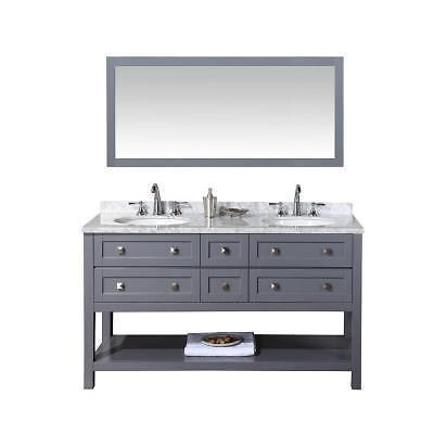 STUFURHOME Marla double sink bathroom vanity with mirror in grey