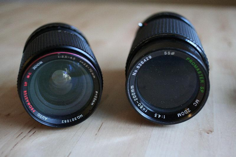 SLR/Manual camera lenses & Vivitar flash