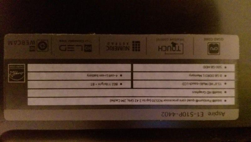 Acer laptop touch screen 250$