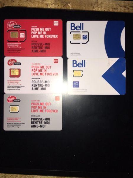 Virgin Mobile & Bell SIM cards