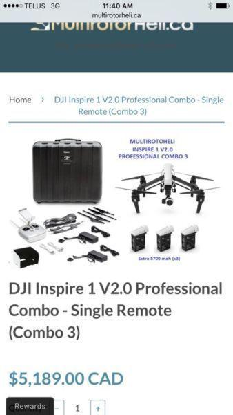 DJI Inspire 1 v2.0 with extras in brand new condition