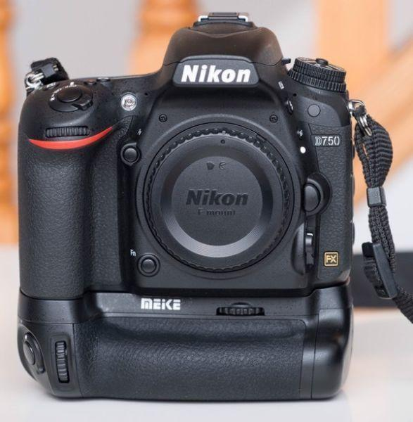 Mint Nikon D750 with battery grip and extra battery