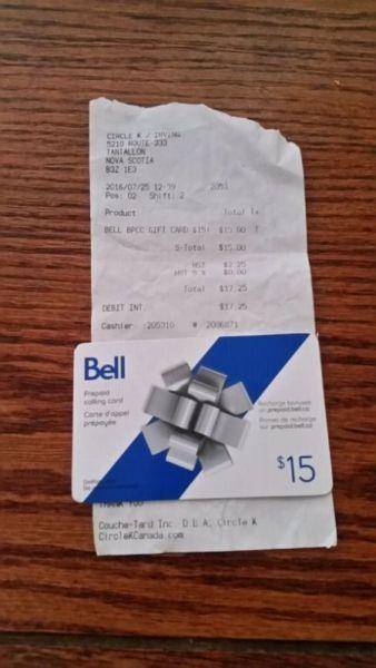 $15 Bell prepaid long distance card
