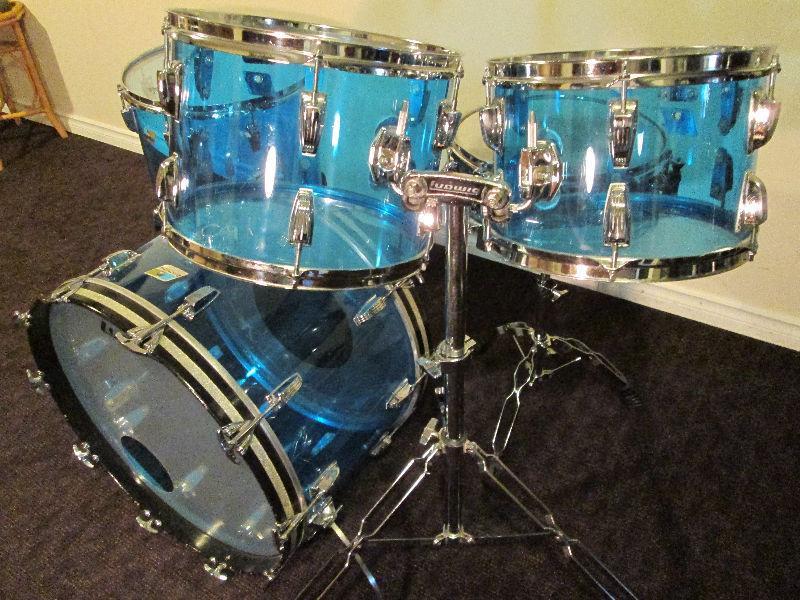 Ludwig Vistalite Drum Kit,Nice Shape, Blue tint 22,16,14,12
