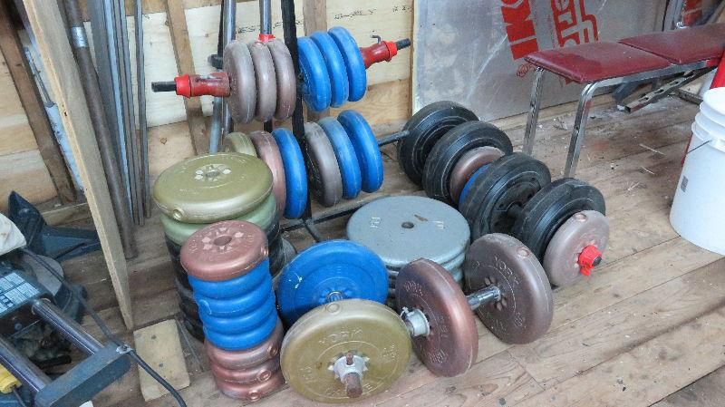 450 lbs assorted weights and bars