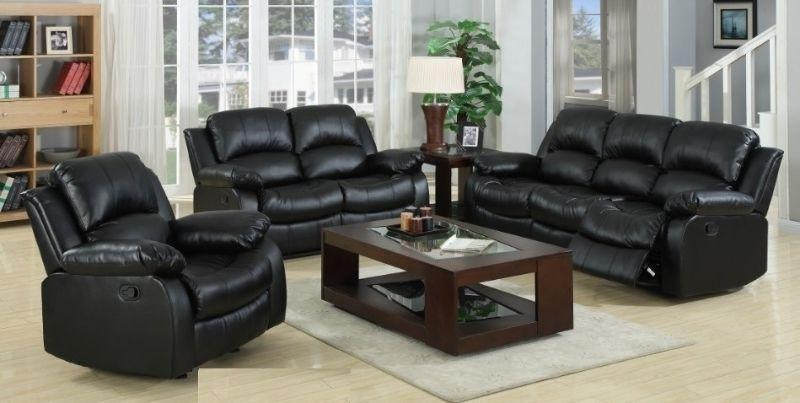 Midnight black bonded leather reclining love seat, NEW IN BOXES