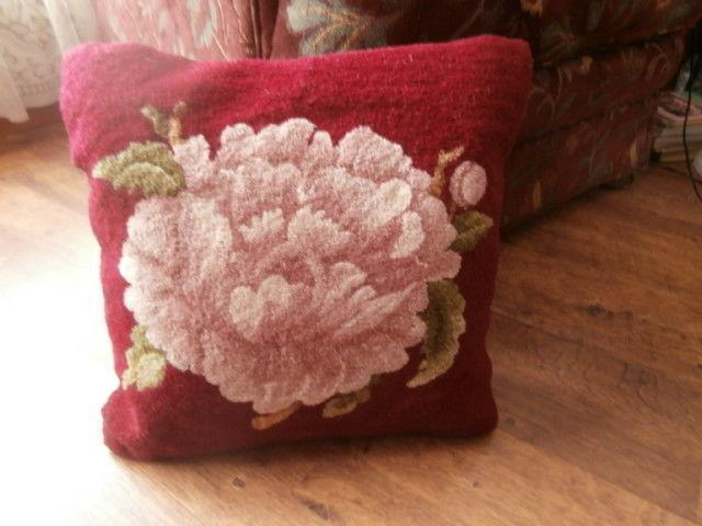 Hand Hooked Cushion in Wine, Pink, Cream and Greens