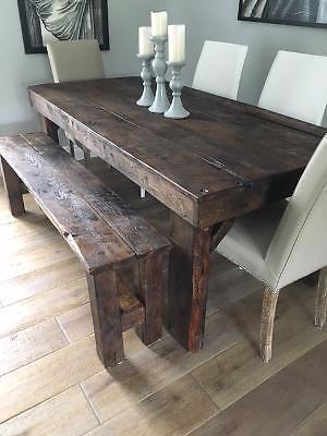 Rustic Harvest Table and Bench