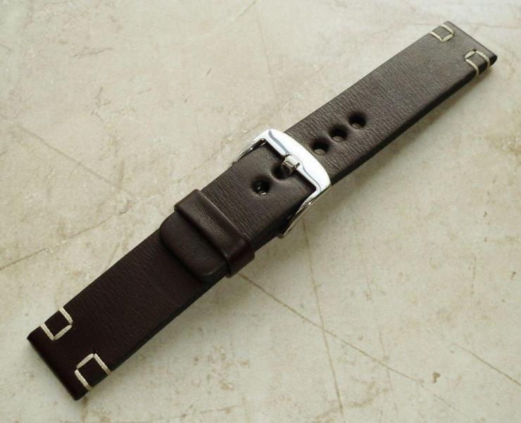 Brown 20mm leather watch band full grain heavy strap,2x tan box