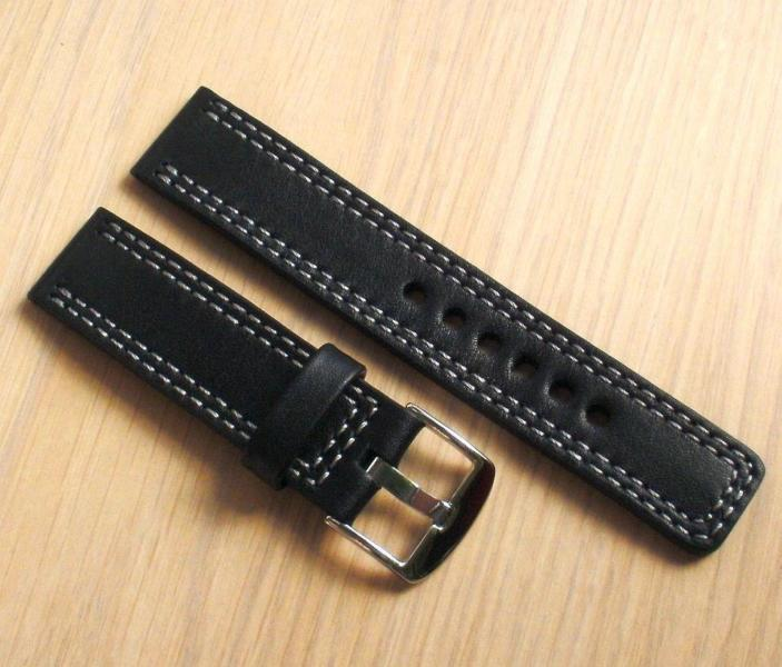 Leather watch band,black 20mm,2xlight gray,custom EU handmade